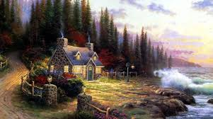past house thomas kinkade oil painting works american painter