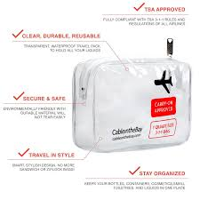 tsa approved clear travel toiletry bag quart sized with zipper airport airline pliant bag carry on luge travel backpack for liquids bottles