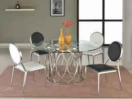 lovely stainless steel dinette set 14 round glass top dining table with base in shape