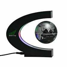 ettg spac magnetic levitation floating world map globe with led lights for learning education teaching desk decoration c shape globe co uk pc