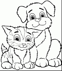 Coloring Pages Of A Dog And Cat With Pleasant Cats Dogs Printable To