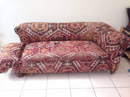 Victorian Drop Arm Sofa With Red Abstrac Pattern Fabric Cover And Wooden  Legs Ideas Printed Fabric Sofas T21