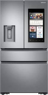 samsung tv refrigerator. samsung family hub 2.0 22.2 cu. ft. 4-door french door counter-depth refrigerator silver rf23m8570sr - best buy tv f