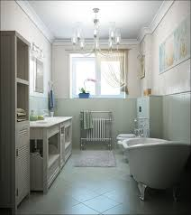 Bathroom:Luxurious Small Bathrooms Decoration Exposed Classic Footed  Bathtub Wooden Vanity Storage Charming Laminate Tile