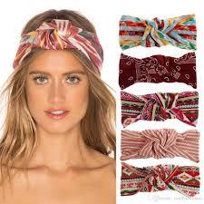 Designer Head Wraps Bohemia Designer Knotted Cross Headband Women Striped Hair Accessories Girls Fashion Head Wrap Elastic Turban Yoga Hair Band C490 Hair Accessories For