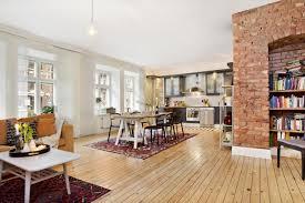 Red Brick Flooring Kitchen Exposed Brick Chimney In Kitchen Round Black Webbing Pendant Lamp
