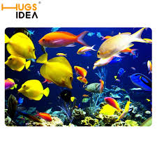 cute yellow tropical fish sea bath carpets for home blue door mats and rugs for kitchen living room 2mm thin