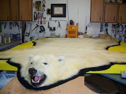shining faux polar bear rug with head designs
