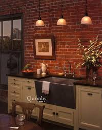 Brick Kitchen Kitchen Room Design Ideas Gorgeous Triple White Glass Pendant