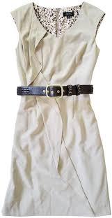 Tahari Beige Oatmeal Meagan Brown Mid-length Work/Office Dress Size 6 (S) -  Tradesy