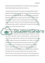 Essay On Tolerance Tolerance Between Forbearance And Acceptance Research Paper
