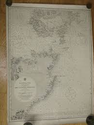 Sea Charts Scotland Original Antique British Admiralty Sea Chart Scotland East