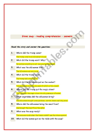 Tap tap or or to answer the questions. Stone Soup 2 Key Esl Worksheet By Peggy33