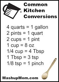 Common Conversion Chart Printable Common Kitchen Conversions Chart