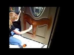 staining fiberglass door and wood