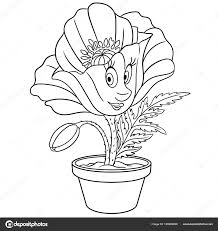 Poppy Flower Pot Coloring Page Colouring Picture Coloring Book