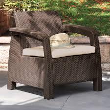 Brown Armchair Keter Corfu Outdoor Armchair Brown Hayneedle