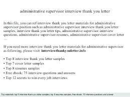 Administrative Supervisor Thank You Letter To Internship