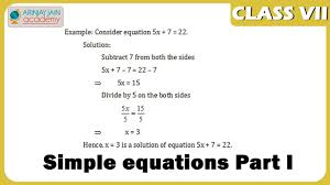 simple equations part i equations maths class 7 vii isce cbse ncert