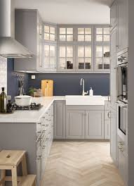 traditional kitchen ideas. L-shaped Kitchen With Traditional Wall And Base Cabinets Grey Doors Glass Ideas L