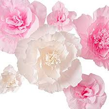 Paper Flower Archway Handcrafted Flowers Large Crepe Paper Flowers Pink And White Flower Set Of 6 For Wedding Backdrop Baby Nursery Home Decor Birthday Party Photo