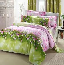 minimalist teen girls bedroom queen size pink flower fl pattern green comforter set full cotton reactive printing duvet cover set lime green patterned
