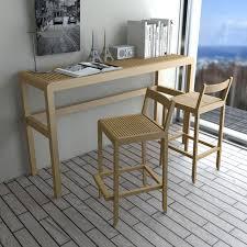 contemporary high bar table  wooden  rectangular  saki set
