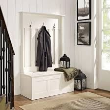 Hall Tree Coat Rack Storage Bench Crosley Ogden White Hall TreeCF100WH The Home Depot 29