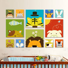 cute animal oil painting cartoon canvas painting children s room decorative painting no frame animation tiger lion