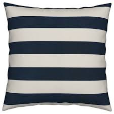 wide navy cream horizontal blue striped throw pillow contemporary outdoor cushions and pillows by roostery