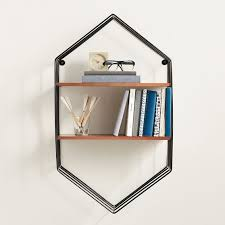 wood and wire hexagon wall bookshelves