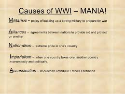 world war i power point world war i notes 2 causes