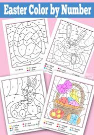 Welcome to our printable easter color by number worksheet page. Easter Color By Numbers Worksheets Itsybitsyfun Com
