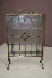edwardian leaded glass brass framed fire screen