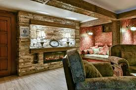 unfinished basement ideas. Red Wall Accent Pillow Couch Stone Fireplace Wooden Floor Wood Door Unfinished Basement Ideas D