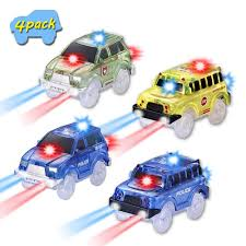 Led Light Toy Car Amazon Com Vinsoo Track Car 4 Packs Light Up Replacement