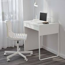 furniture beauty white modern simple small corner computer desk ideas with cozy white plastic swivel chair plus textured wood floor smart savvy solution