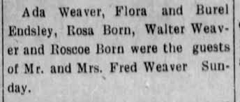 Rosa, Roscoe and the familiar Weaver name... - Newspapers.com