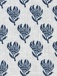 Small Picture Navy Blue Floral Linen Fabric by the Yard Navy Blue Floral Linen