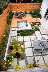 ... Backyard, Appealing Gray Rectangle Modern Ceramics Backyard Landscaping  Designs Decorative The Poll And Flowers Ideas ...
