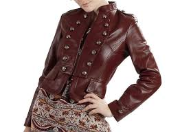 home women s apparel women leather jackets women s marron leather jacket with embellishment