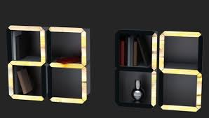 digital time shelf by dzmitry samal is a wall clock that doubles as bookshelf