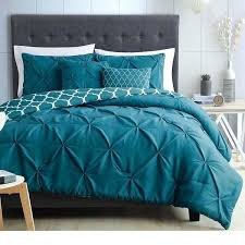 quatrefoil comforter light teal blue white pinch pleated comforter queen set