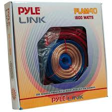 Pyle Plam40 Car Audio Cable Wiring Kit 20ft 8 Gauge Powered 1200 Watt Complete Amplifier Hookup For Battery Head Unit Stereo Speaker