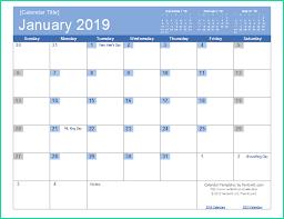Easy 2019 Monthly Calendar Template Word Of 2019 Calendar Templates