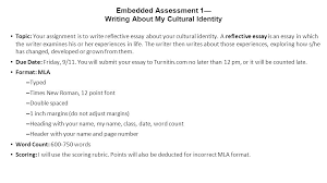 english ii honors ○ daily warm up what do you  embedded assessment 1 writing about my cultural identity topic your assignment is to write