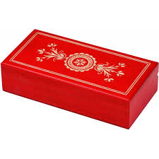 red handcarved polish traditional wooden box with beautiful white flowers