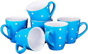 People talk about nitro cold brew, peppermint mocha and chocolate almond biscotti. Amazon Com Polka Dot Coffee Mug Set Set Of 6 Large Sized 16 Ounce Ceramic Coffee Mugs Restaurant Coffee Mugs Blue Kitchen Dining
