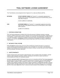 Trial Software License Agreement Template Word Pdf By Business