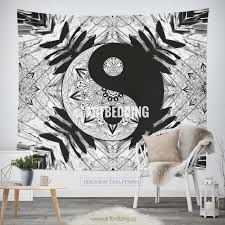 bohemian tapestry ying yang black white mandala wall art print boho wall decor  on black white wall art deco with bohemian tapestry ying yang black white mandala wall art print